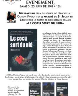 Samedi 23 juin de 10h à 13h – Maxbarteam dédicacera son dernier polar au marché de St Julien en Born