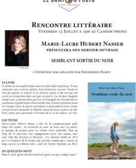 Vendredi 13 juillet 19h – Rencontre littéraire – Marie-Laure Hubert Nasser présentera son dernier ouvrage