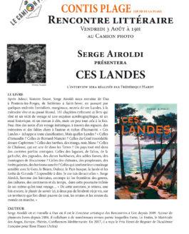 Vendredi 3 août 19h – Rencontre littéraire avec Serge Airoldi